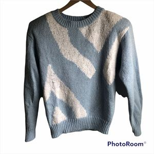 Vintage baby blue and white shimmery crew neck sweater sz medium